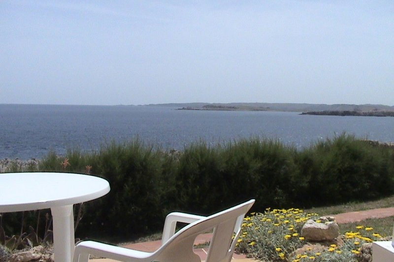 Beautiful views from the terrace of the apartment Rocas Marinas 2A to the coast of Menorca.