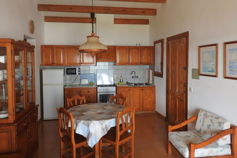 Living room and kitchen in the Rocas Marinas 8R apartment.
