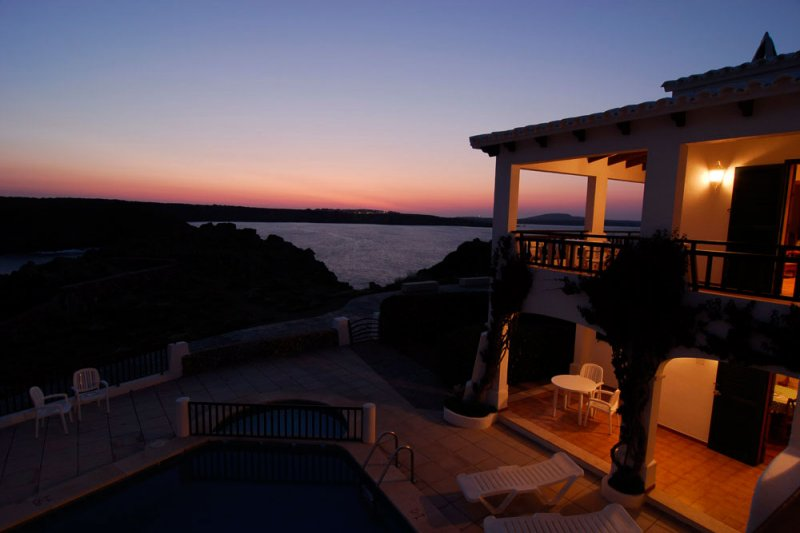 Dusk in Menorca, from the terrace of the Arco Iris 4 apartment.